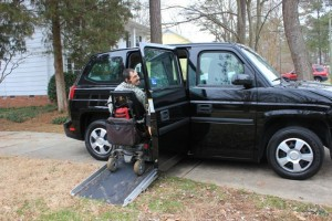 Barton Cutter in an MV-1 accessible van.